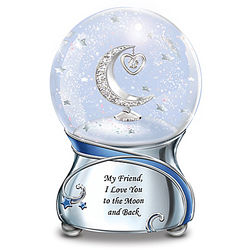 Friend, I Love You to the Moon Musical Glitter Globe