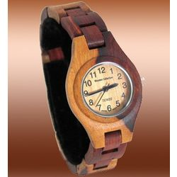 Ladies Dual-Tone Sandal Light Face Wooden Watch