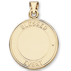 14k Yellow Gold Blessed Event Signet Confirmation Medal