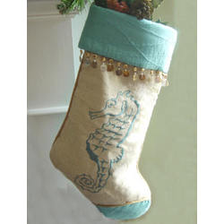 Embroidered Seahorse Quilted Christmas Stocking