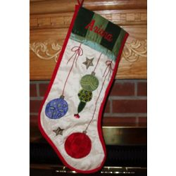 Quilted Ornamental Holiday Cheer Stocking