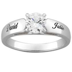 Sterling Silver Round Cubic Zirconia Personalized Engagement Ring