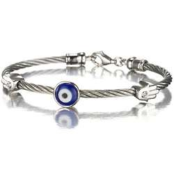 Evil Eye Hamsa Cable Bracelet in Stainless Steel