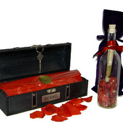 Ebony Treasure Chest and Message in a Bottle