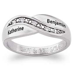 Personalized Sterling Silver Couples Diamond Promise Ring