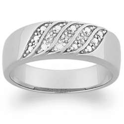 Men's Sterling Silver Diamond Wedding Ring
