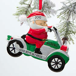 Personalized Motorcycle Santa Ornament