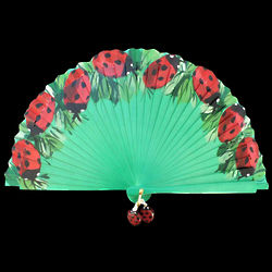 Lady Bug Handpainted Wooden Spanish Hand Fan