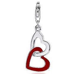 Double Heart Charm in Sterling Silver