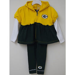 Girl's Green Bay Packers Ruffled Hoodie And Leggings