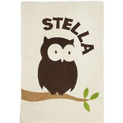 Personalized Owl Fleece Baby Blanket