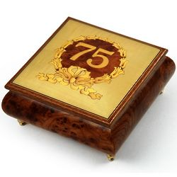 Handcrafted Happy 75th Musical Jewelry Box