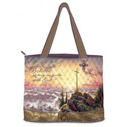 Thomas Kinkade Believe Quilted Tote Bag