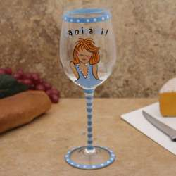 North Carolina Tar Heels Carolina Girl Wine Glass