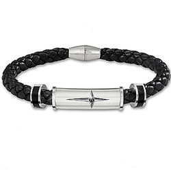 Protection and Strength For My Son Leather and Steel Bracelet