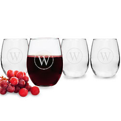 Circle Initial Stemless Wine Glasses