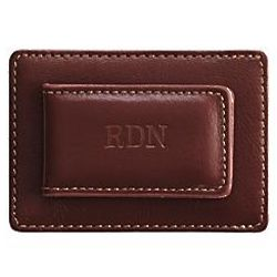 Personalized Leather Card Holder and Money Clip