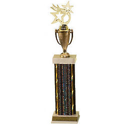 Deluxe Customized Tall Black and Gold Award Trophy