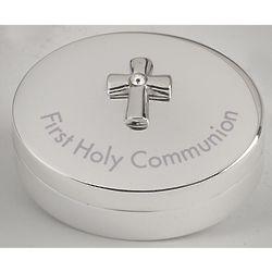 First Communion Silver-Tone Cross Memory Box