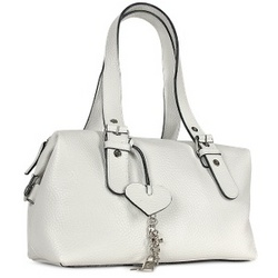 White Pebble Soft Calf Leather Satchel Bag