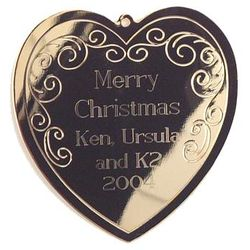 Scrolled Heart Gold Tone Christmas Ornament