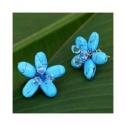 'Cool Blue Flower' Earrings