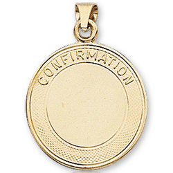 14k Yellow Gold Plain Signet Confirmation Medal