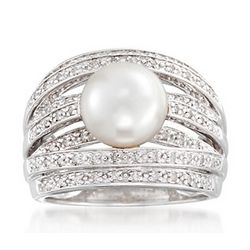Cultured Pearl and Diamond Multi-Row Ring in Sterling Silver