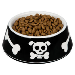 Black Skull & Bone Dog Bowl