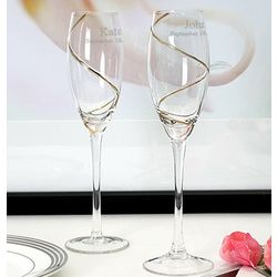 Personalized Gold Swirl Toasting Flutes
