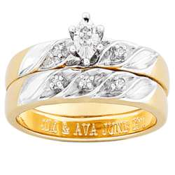 18K Gold over Sterling Diamond Engraved Wedding Set