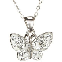 White Crystal Butterfly Necklace in Sterling Silver