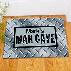 Personalized Diamond Plate Man Cave Doormat