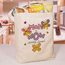 Mom is Wow Personalized Canvas Tote Bag