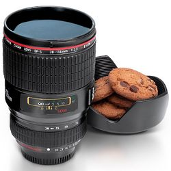 Camera Lens Mug with Cover Lid