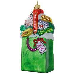 Chicago in a Bag Blown Glass Christmas Ornament