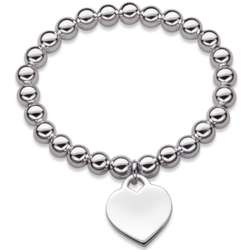 Silver-Plated Stretch Bead Bracelet with Heart Charm