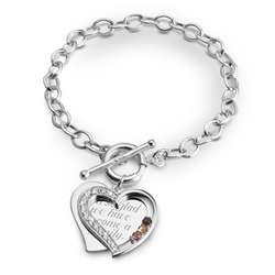 Three Stone Sterling Silver Heart Mother's Bracelet