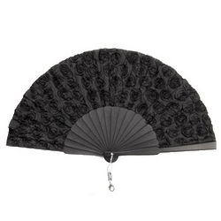 Handmade Elegant Black Silk Spanish Hand Fan