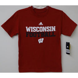 Youth's Red Wisconsin Football T-Shirt