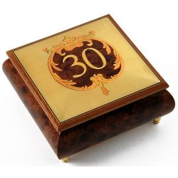 Handcrafted 22 Note 30th Anniversary or Birthday Music Box