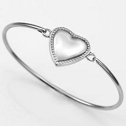 Baby's Engraved Stainless Steel Heart Bangle Bracelet