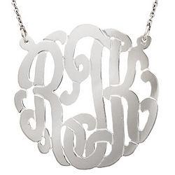 Sterling Silver Script Monogram Necklace