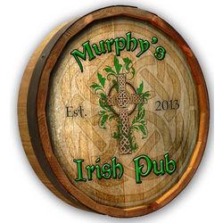 Personalized Irish Pub Quarter Barrel Bar Sign