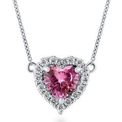 Sterling Silver Pink CZ Halo Heart Necklace