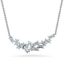 Sterling Silver Baguette Cut CZ Cluster Pendant Necklace