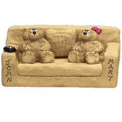 New Mom Dad Bears in Loveseat Figurine