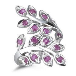 Ruby Leaf Filigree Ring in Silver