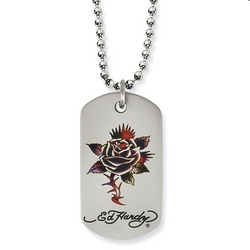 Ed Hardy Dog Tag Necklace with Thorny Rose Pendant