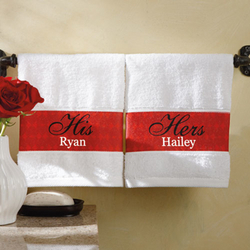 "Personalized ""His & Hers"" Hand Towels"